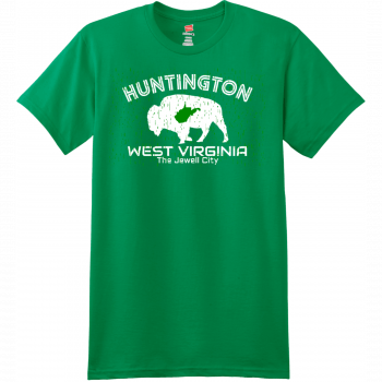 Huntington West Virginia T-Shirt Kelly Green Hanes Nano 4980 Ringspun Cotton T Shirt
