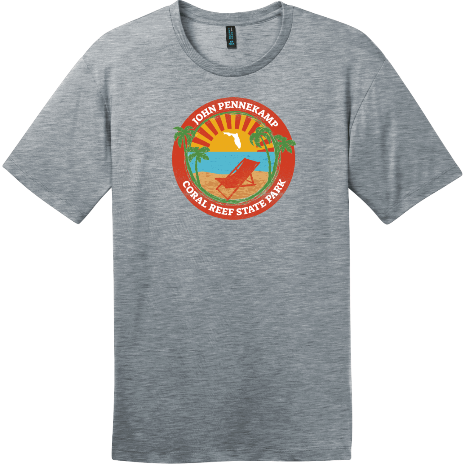 John Pennekamp Coral Reef State Park T-Shirt Heathered Steel District Perfect Weight Tee DT104