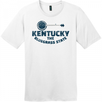 Kentucky Bluegrass State Banjo Retro T-Shirt Bright White District Perfect Weight Tee DT104