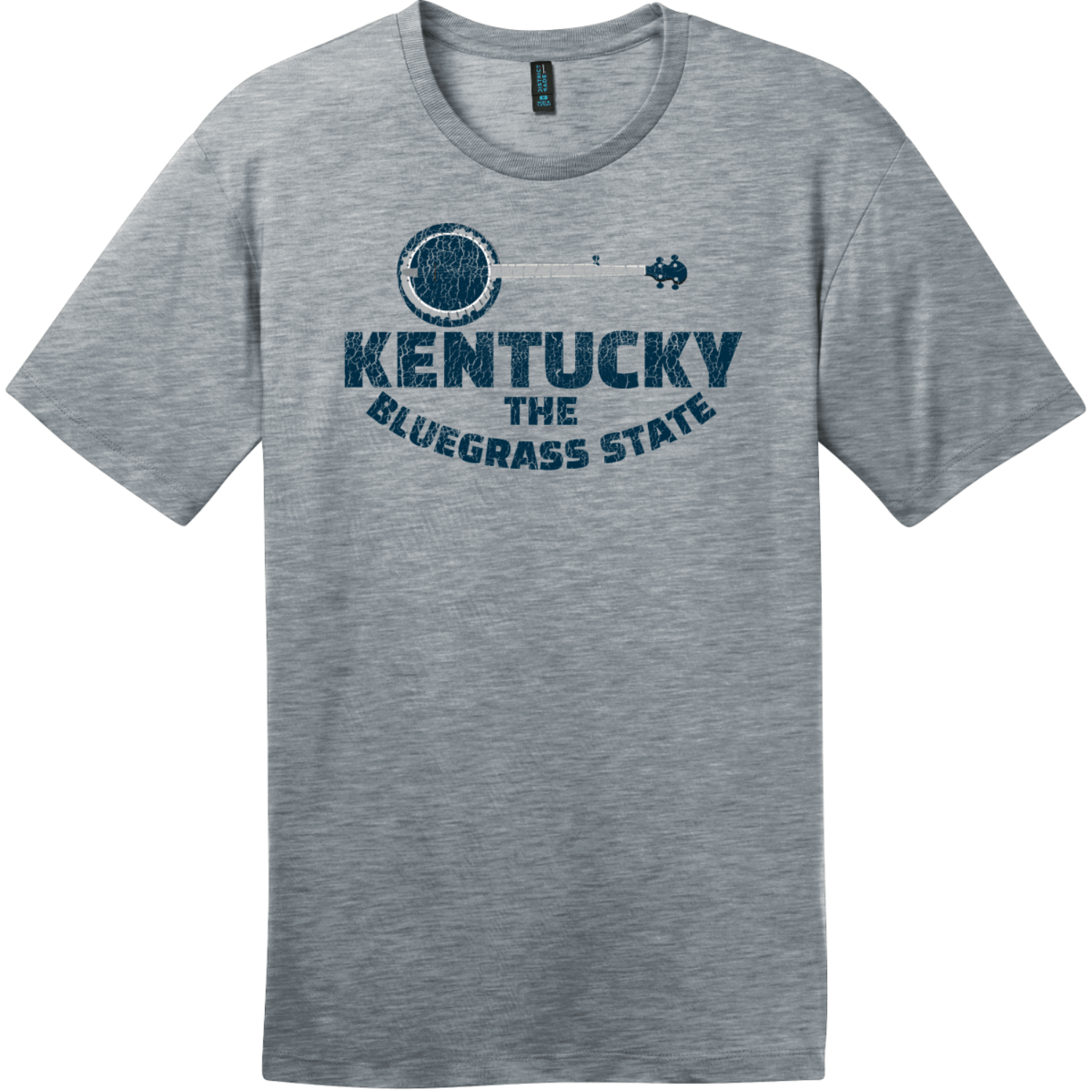 Kentucky Bluegrass State Banjo Retro T-Shirt Heathered Steel District Perfect Weight Tee DT104