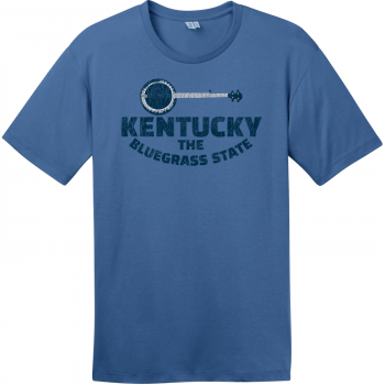 Kentucky Bluegrass State Banjo Retro T-Shirt Maritime Blue District Perfect Weight Tee DT104