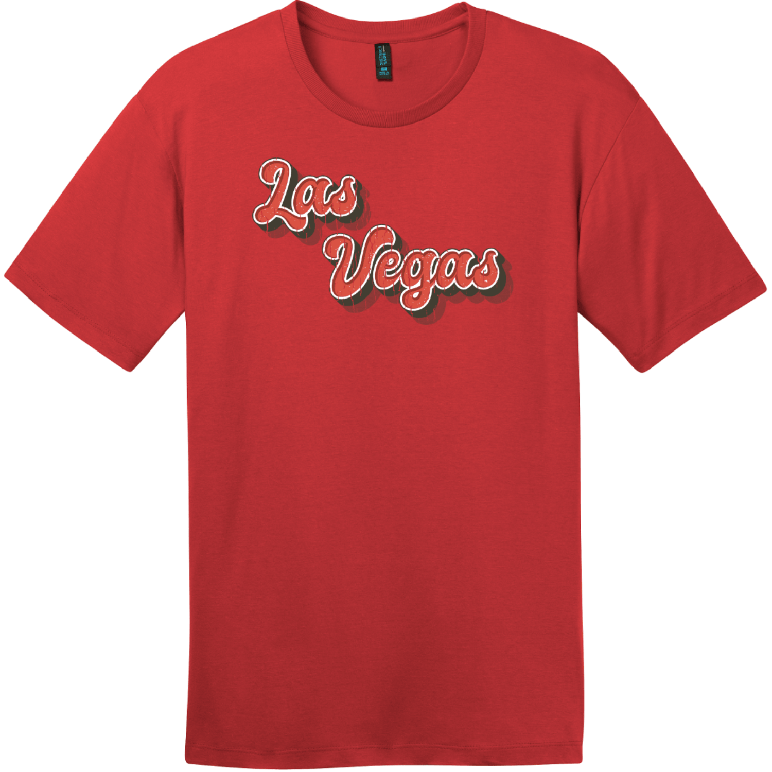 Las Vegas Retro Font T-Shirt Classic Red District Perfect Weight Tee DT104