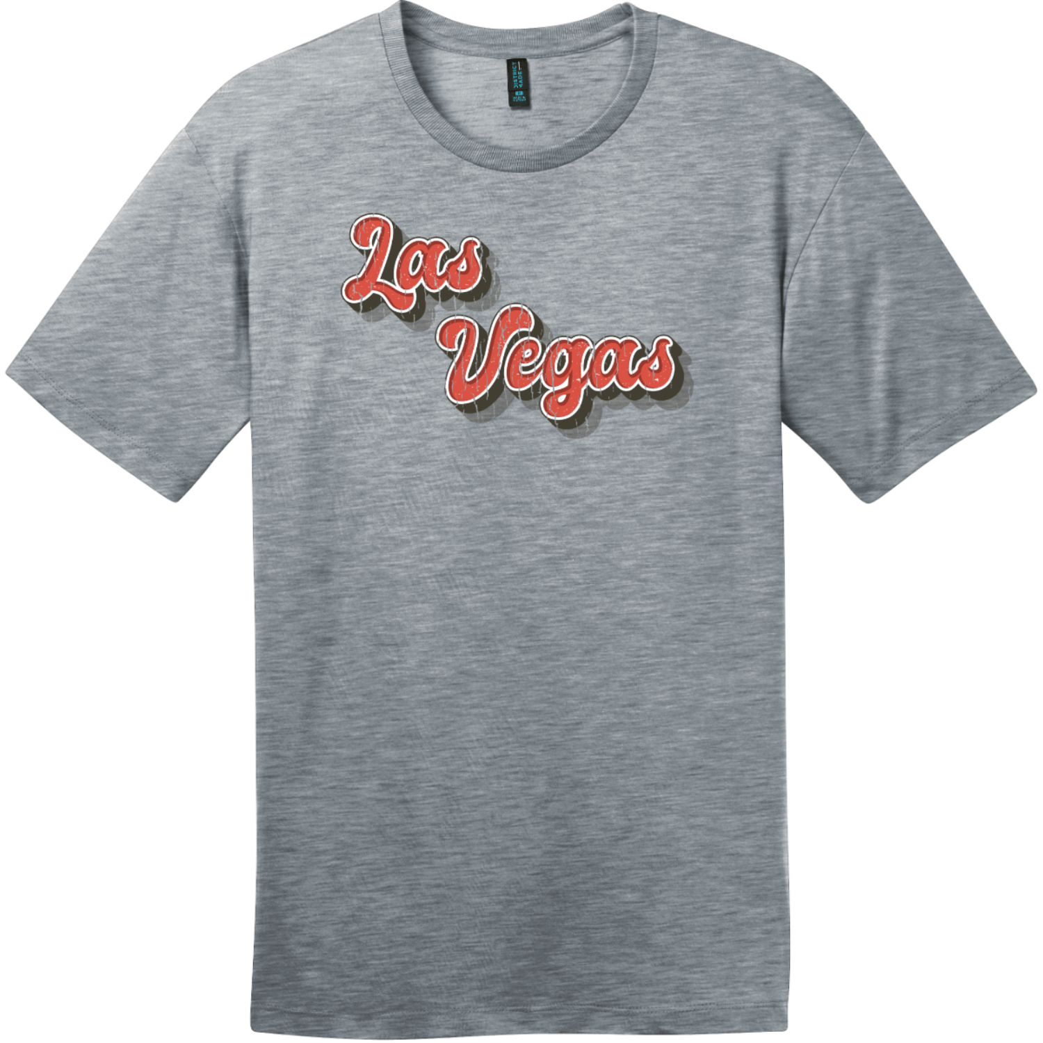Las Vegas Retro Font T-Shirt Heathered Steel District Perfect Weight Tee DT104