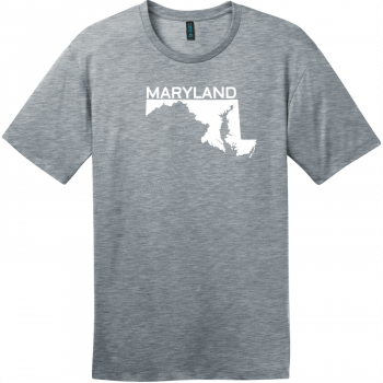 Maryland State Outline T-Shirt Heathered Steel District Perfect Weight Tee DT104