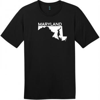 Maryland State Outline T-Shirt Jet Black District Perfect Weight Tee DT104