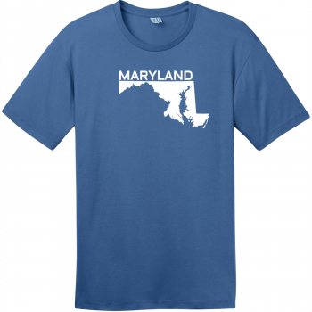 Maryland State Outline T-Shirt Maritime Blue District Perfect Weight Tee DT104