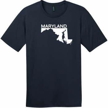 Maryland State Outline T-Shirt New Navy District Perfect Weight Tee DT104