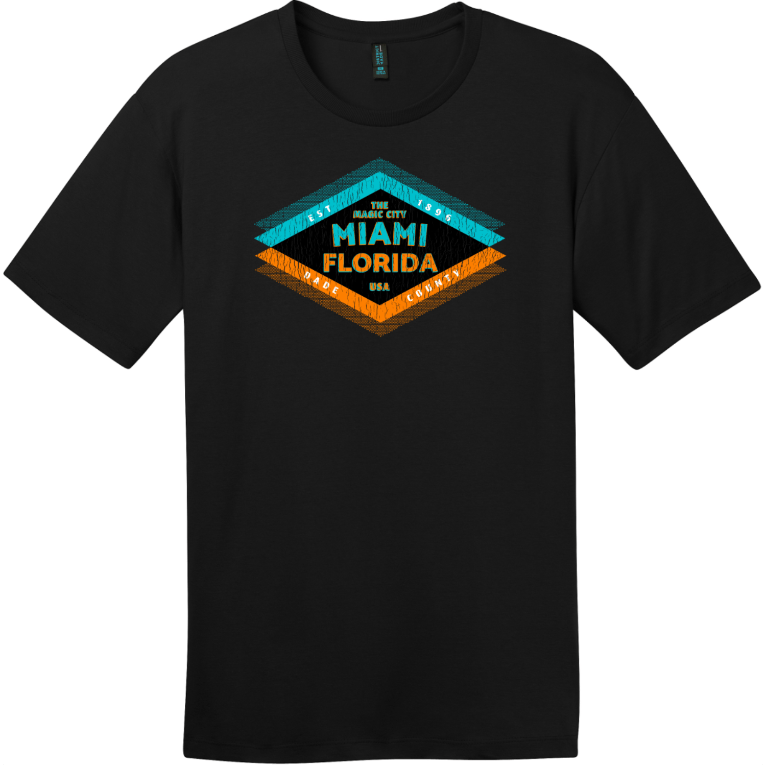 Miami Florida The Magic City T-Shirt Jet Black District Perfect Weight Tee DT104