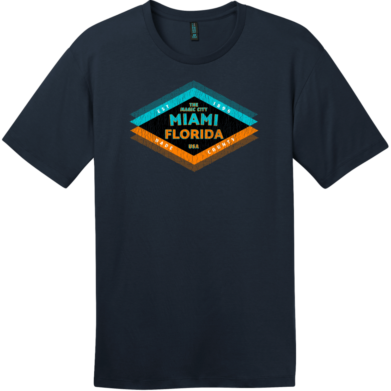 Miami Florida The Magic City T-Shirt New Navy District Perfect Weight Tee DT104