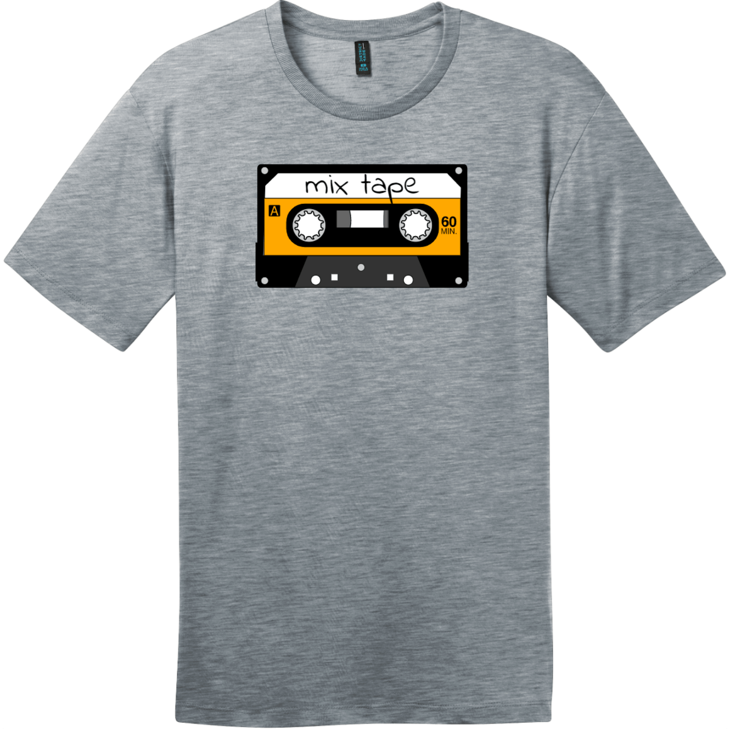 Mix Tape Cassette T-Shirt Heathered Steel District Perfect Weight Tee DT104