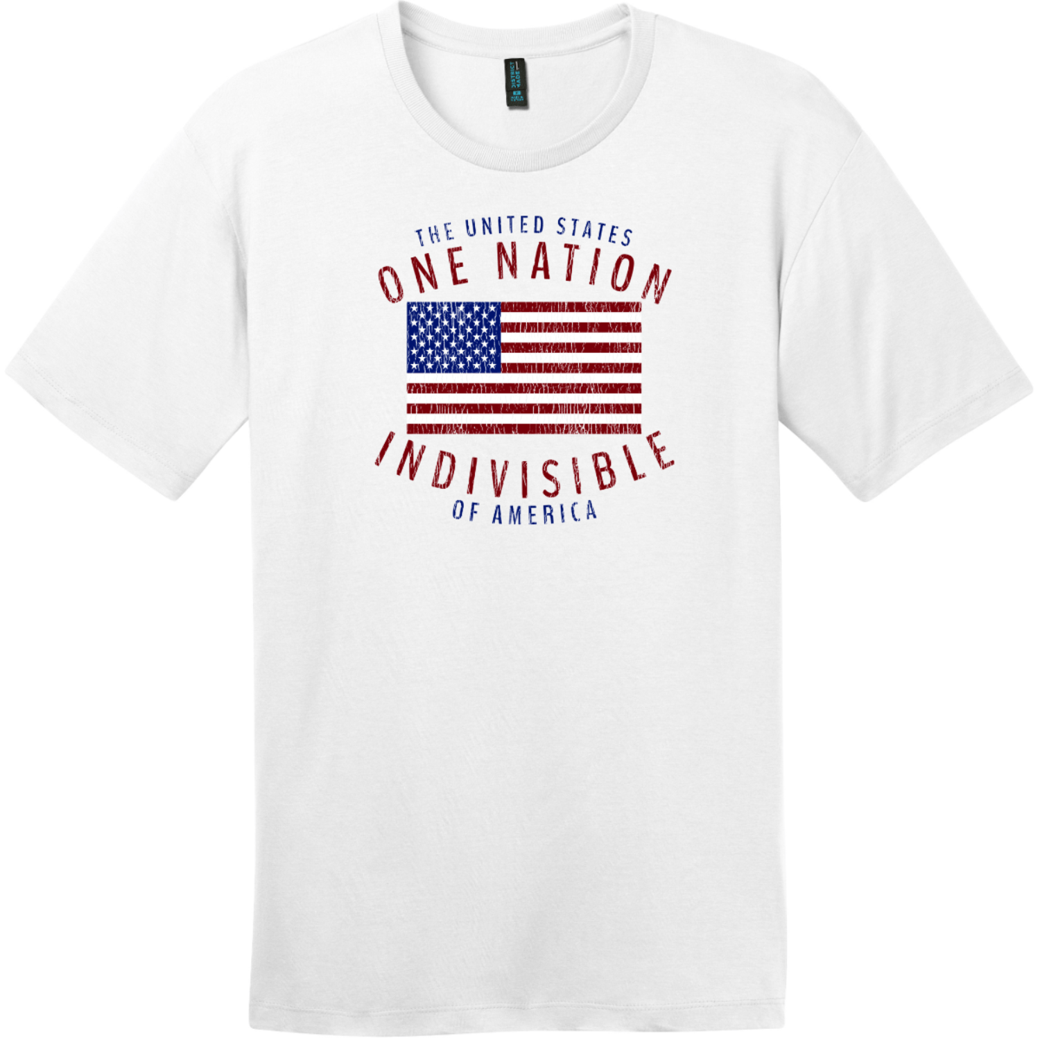 One Nation Indivisible American Flag T-Shirt Bright White District Perfect Weight Tee DT104