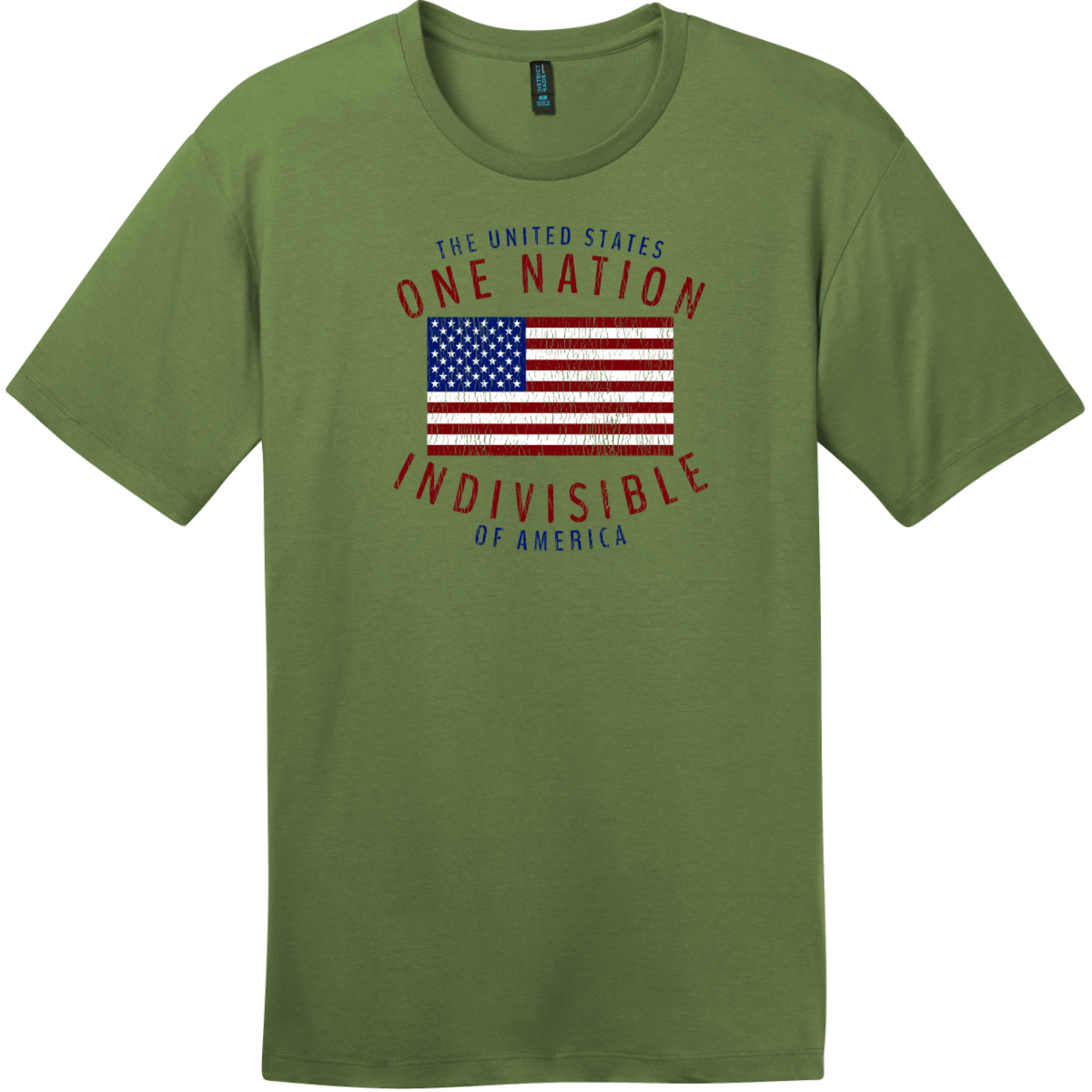 One Nation Indivisible American Flag T-Shirt Fresh Fatigue District Perfect Weight Tee DT104