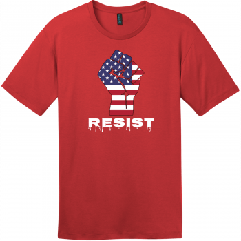 Resist American Flag Fist T-Shirt Classic Red District Perfect Weight Tee DT104