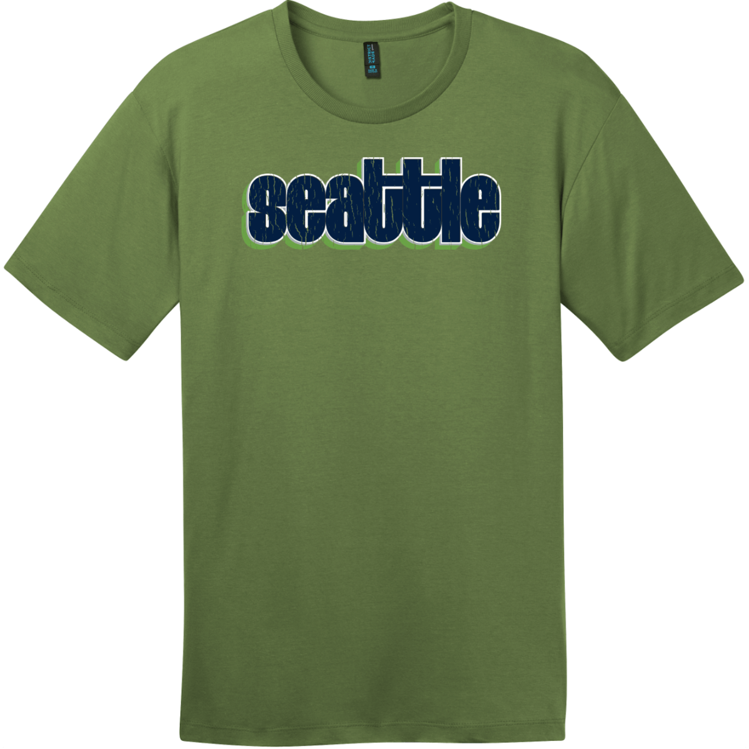 Seattle Retro Letters T-Shirt Fresh Fatigue District Perfect Weight Tee DT104