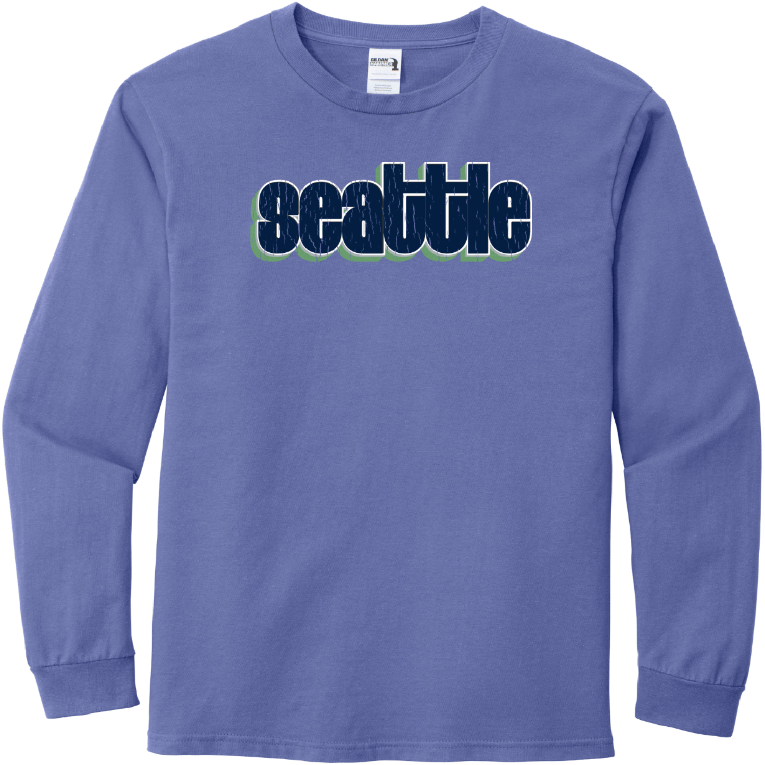 Seattle Washington Retro Letters T-Shirt Flo Blue Gildan Hammer Long Sleeve T Shirt