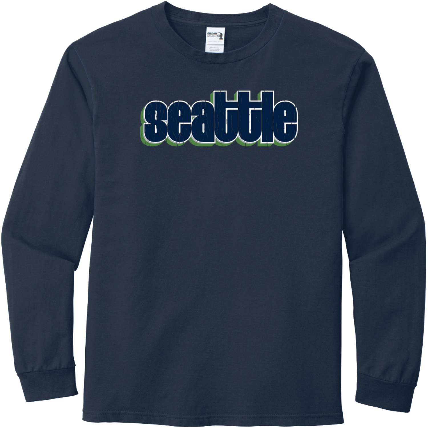 Seattle Washington Retro Letters T-Shirt Sport Dark Navy Gildan Hammer Long Sleeve T Shirt