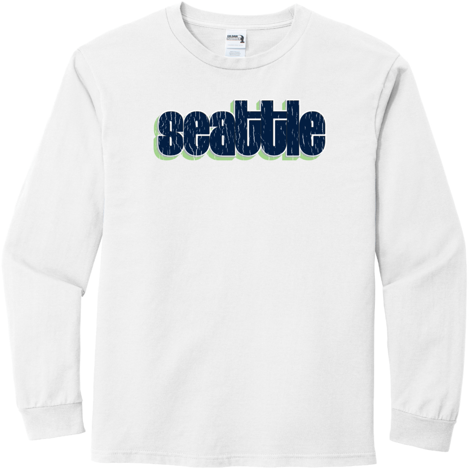 Seattle Washington Retro Letters T-Shirt White Gildan Hammer Long Sleeve T Shirt