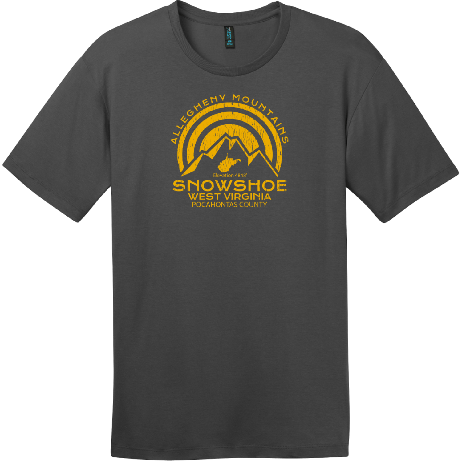 Snowshoe West Virginia Mountain T-Shirt Charcoal District Perfect Weight Tee DT104
