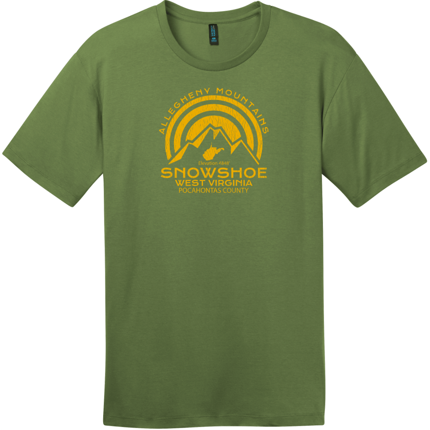 Snowshoe West Virginia Mountain T-Shirt Fresh Fatigue District Perfect Weight Tee DT104