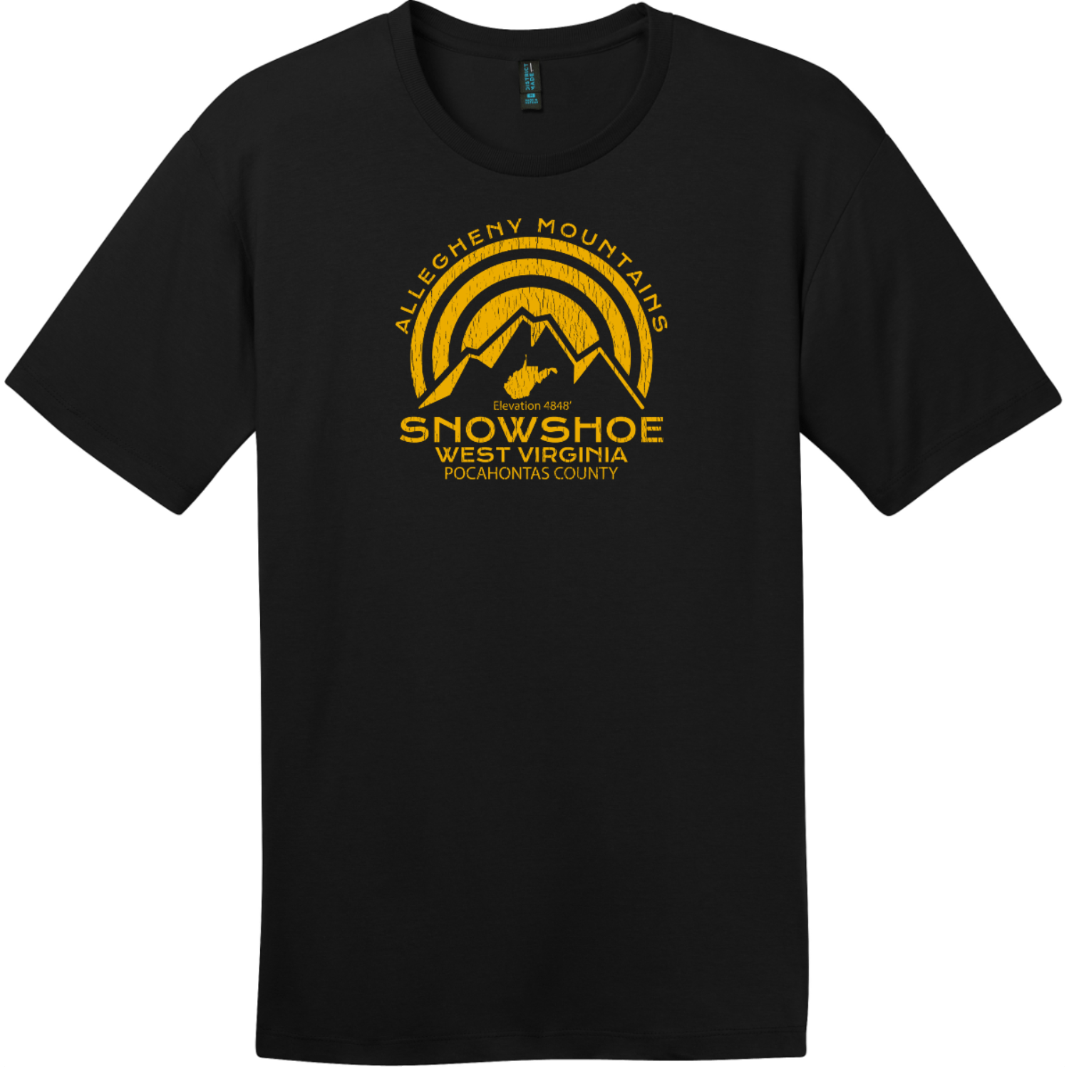 Snowshoe West Virginia Mountain T-Shirt Jet Black District Perfect Weight Tee DT104