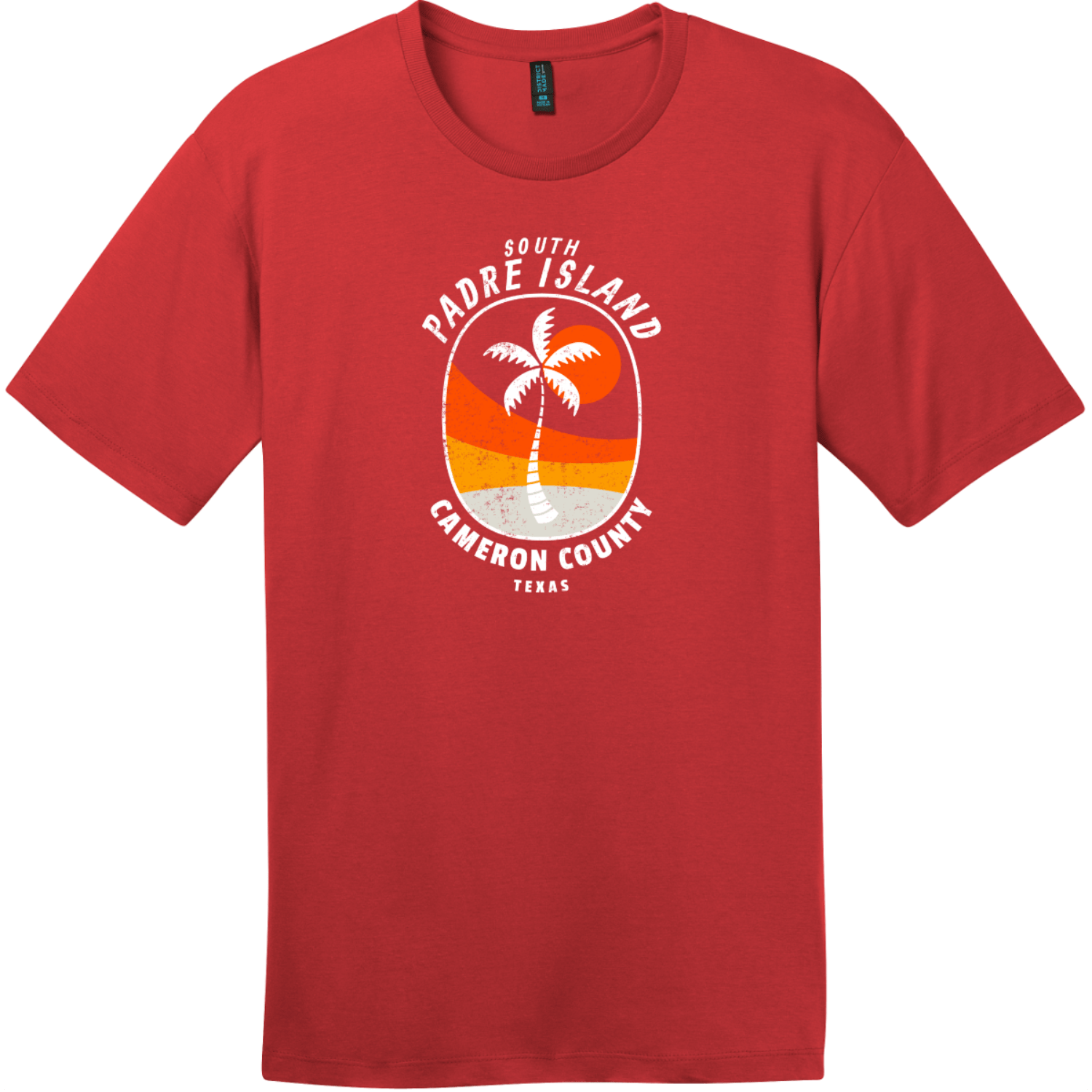 South Padre Island Texas Palm Tree T-Shirt Classic Red District Perfect Weight Tee DT104