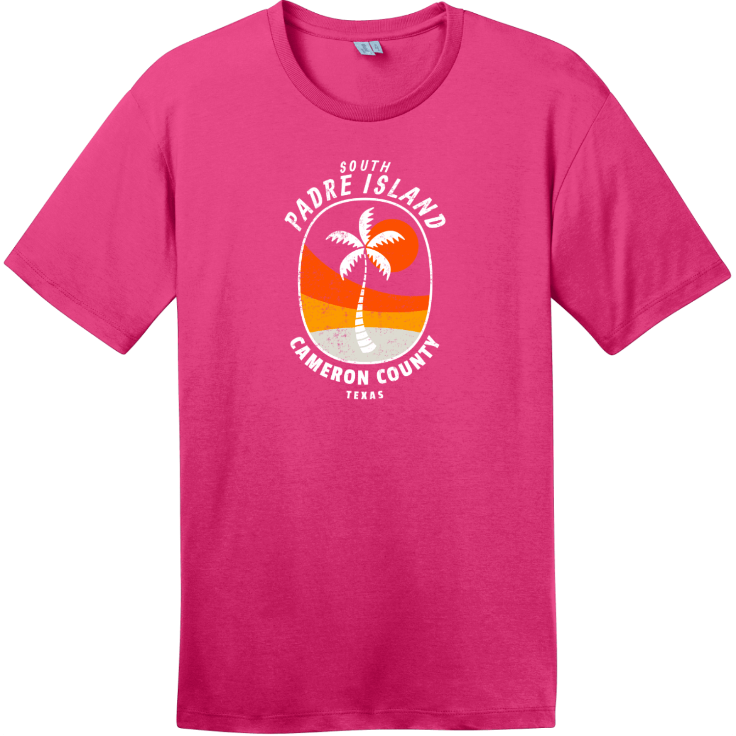 South Padre Island Texas Palm Tree T-Shirt Dark Fuchsia District Perfect Weight Tee DT104