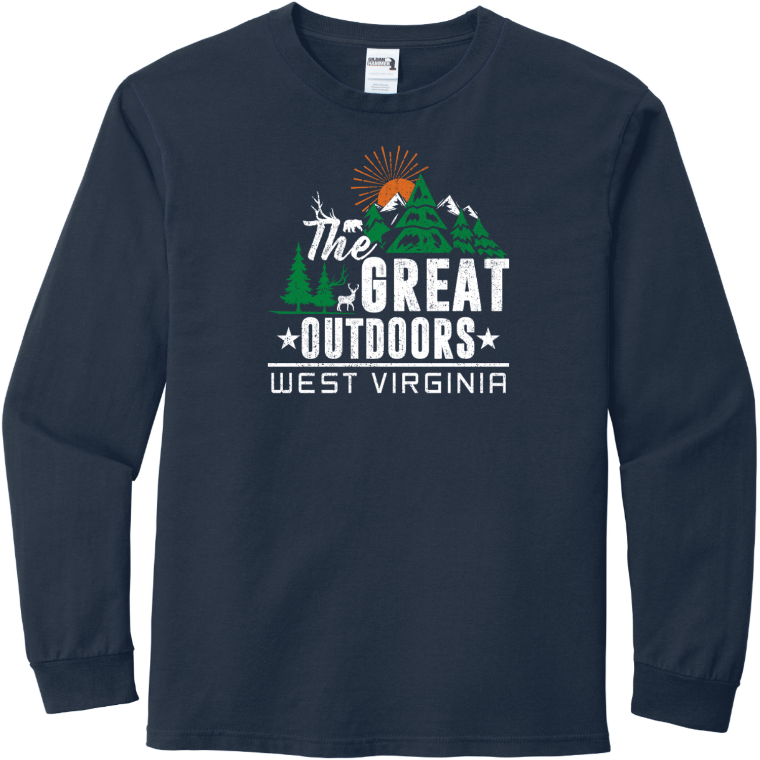 The Great Outdoors West Virginia Long Sleeve T-Shirt Sport Dark Navy Gildan Hammer Long Sleeve T Shirt