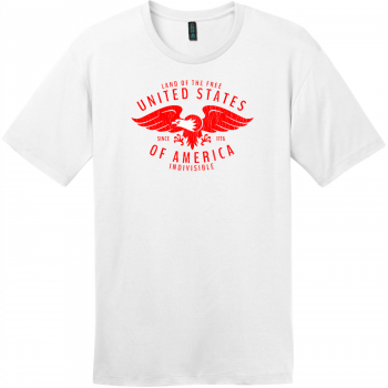 USA Eagle Land Of The Free Vintage T-Shirt Bright White District Perfect Weight Tee DT104
