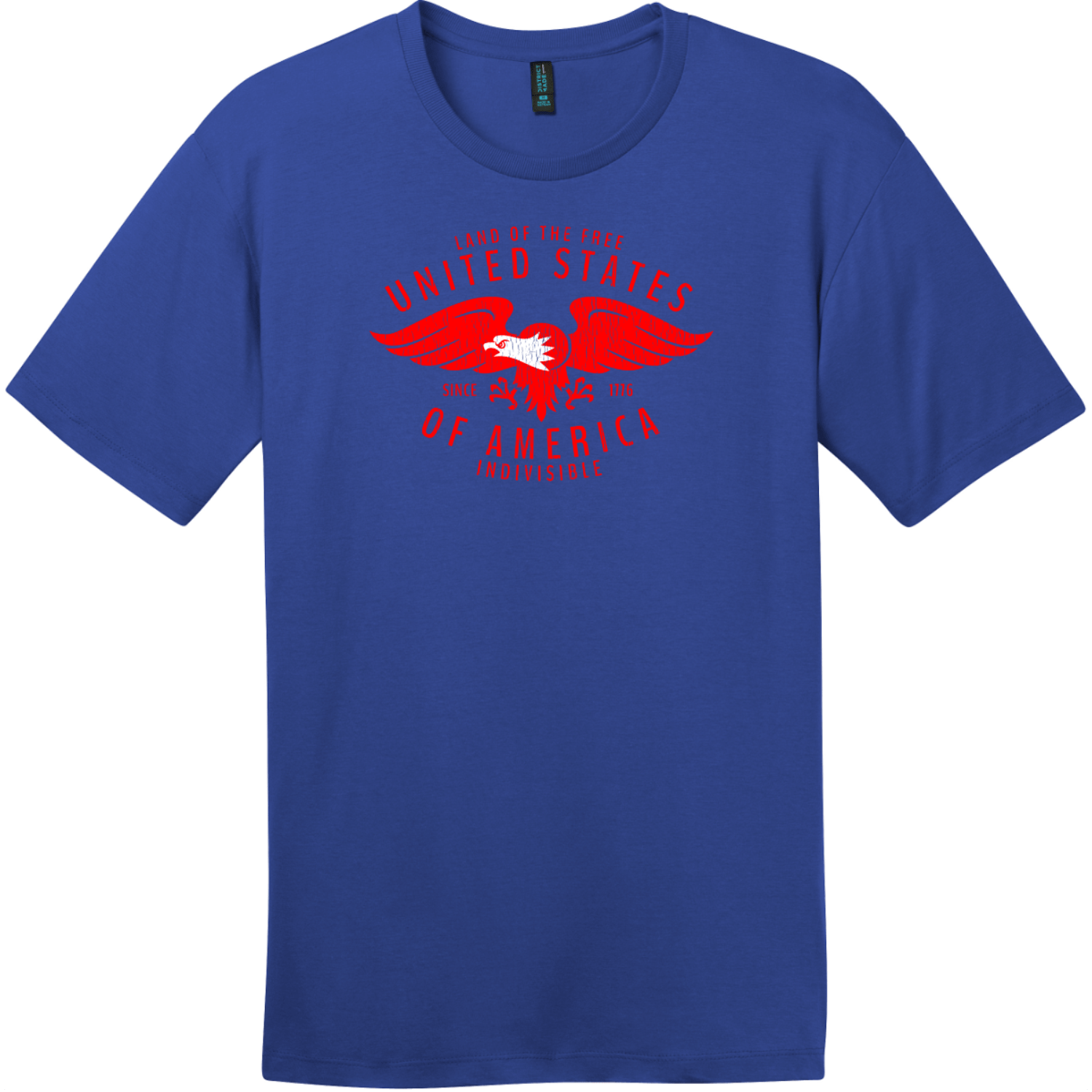 USA Eagle Land Of The Free Vintage T-Shirt Deep Royal District Perfect Weight Tee DT104