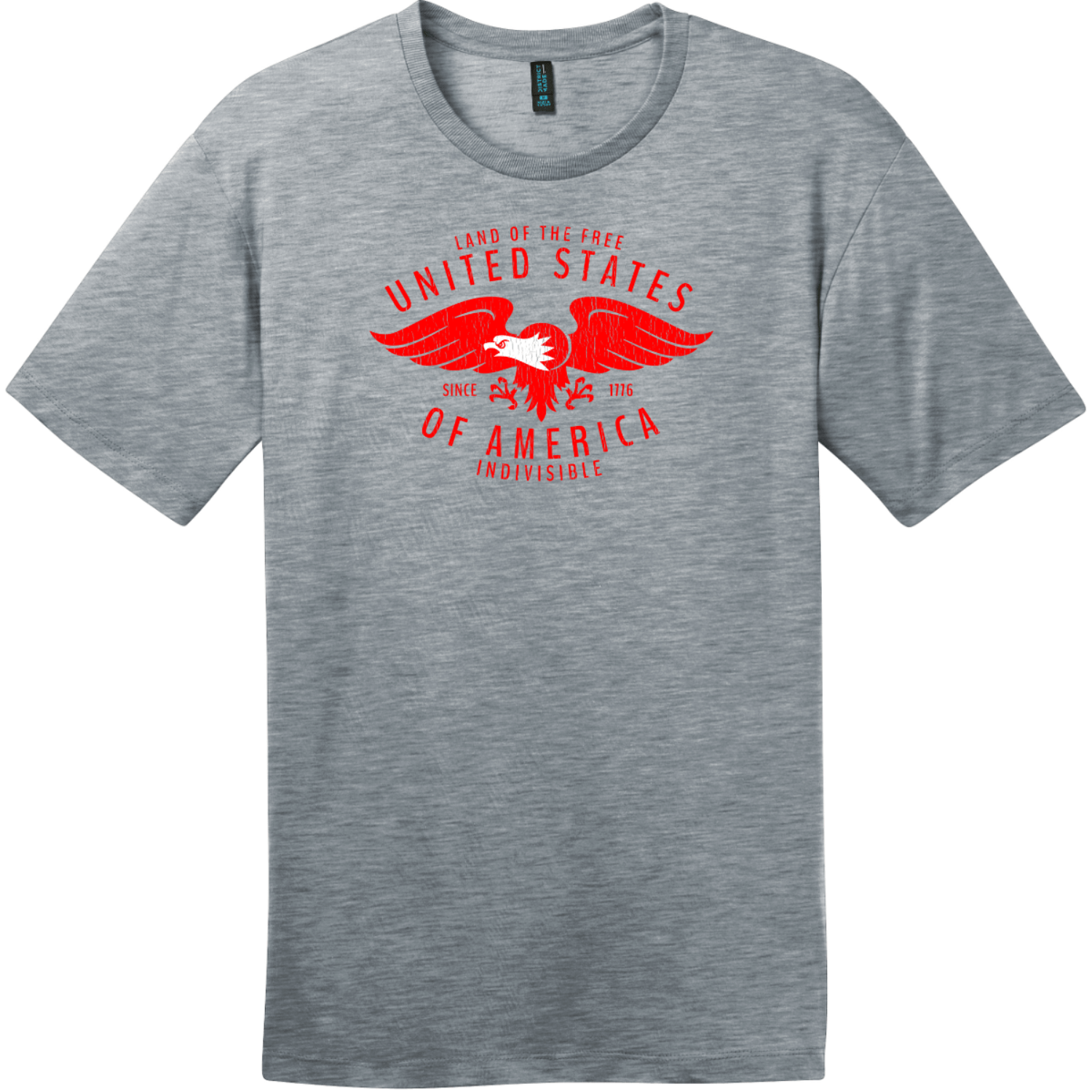 USA Eagle Land Of The Free Vintage T-Shirt Heathered Steel District Perfect Weight Tee DT104