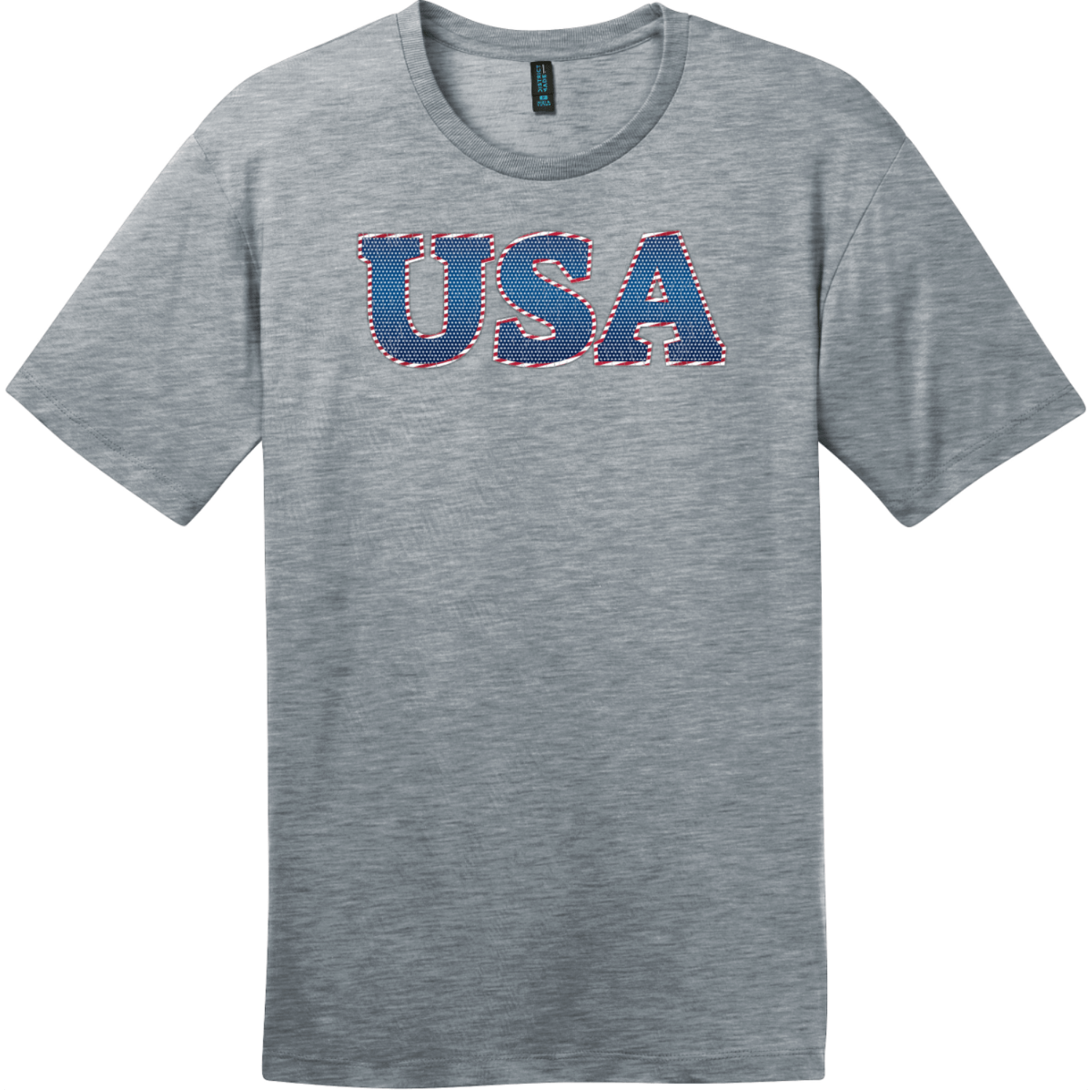 USA Starts And Stripes Lettering T-Shirt Heathered Steel District Perfect Weight Tee DT104