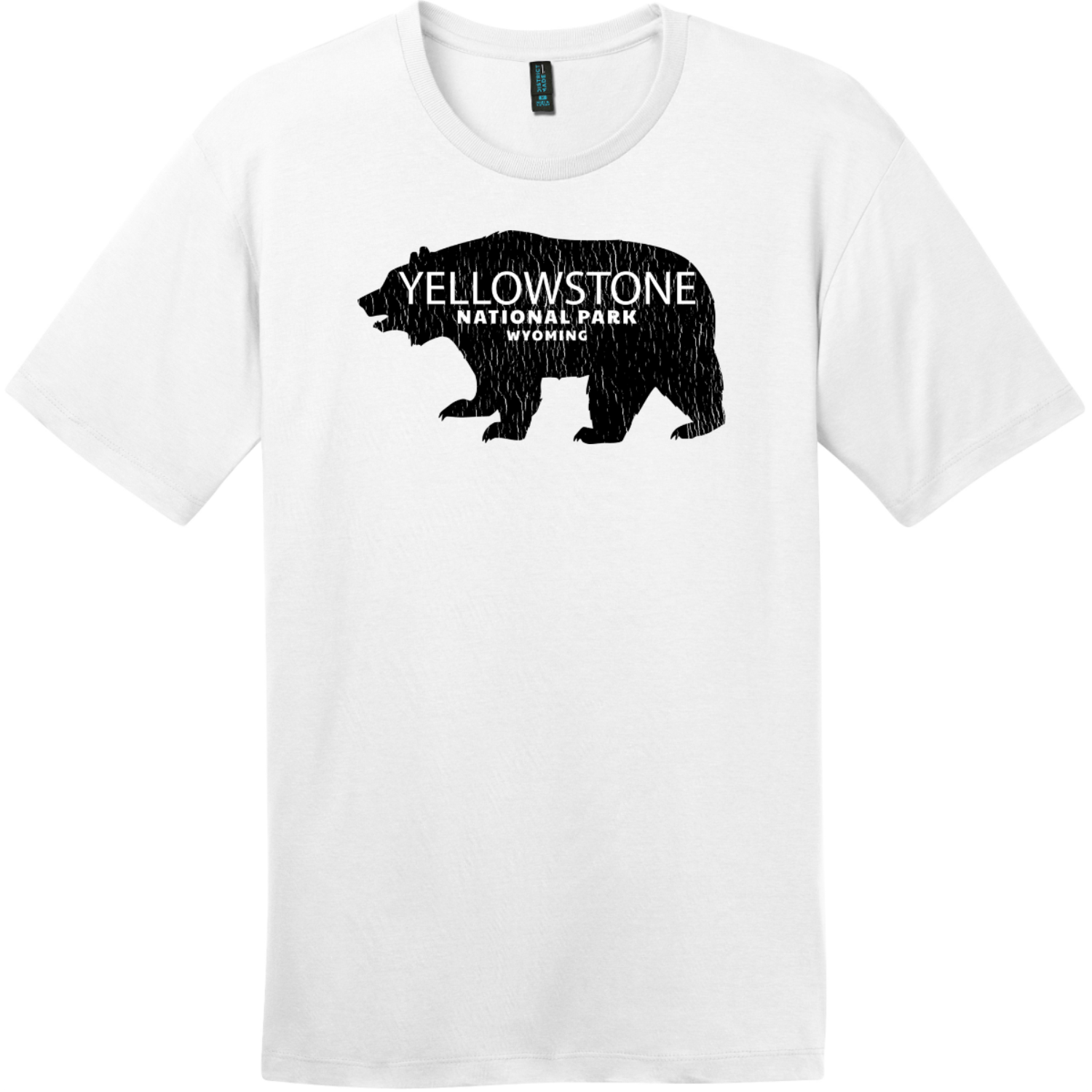 Yellowstone National Park Wyoming Bear T-Shirt Bright White District Perfect Weight Tee DT104