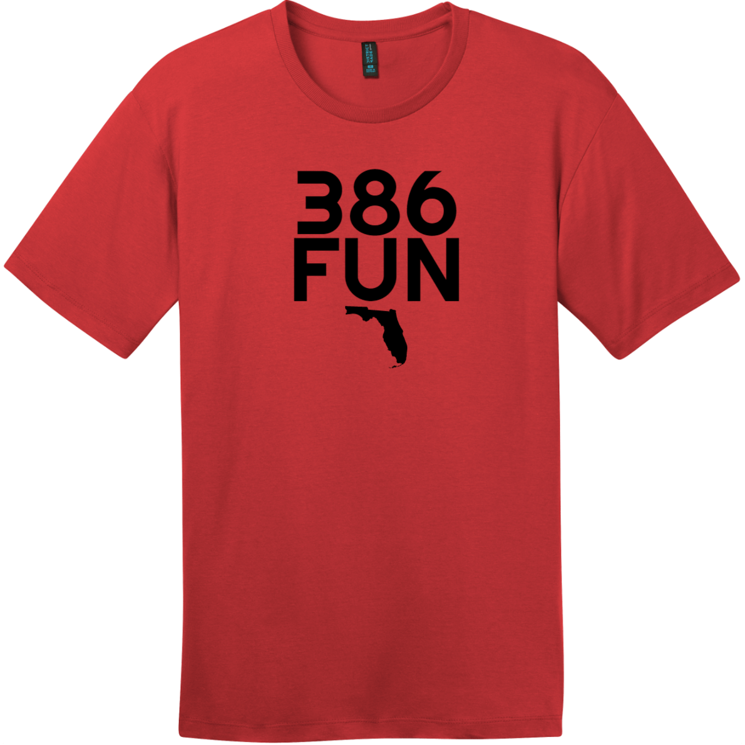 386 Fun Florida T-Shirt Classic Red District Perfect Weight Tee DT104