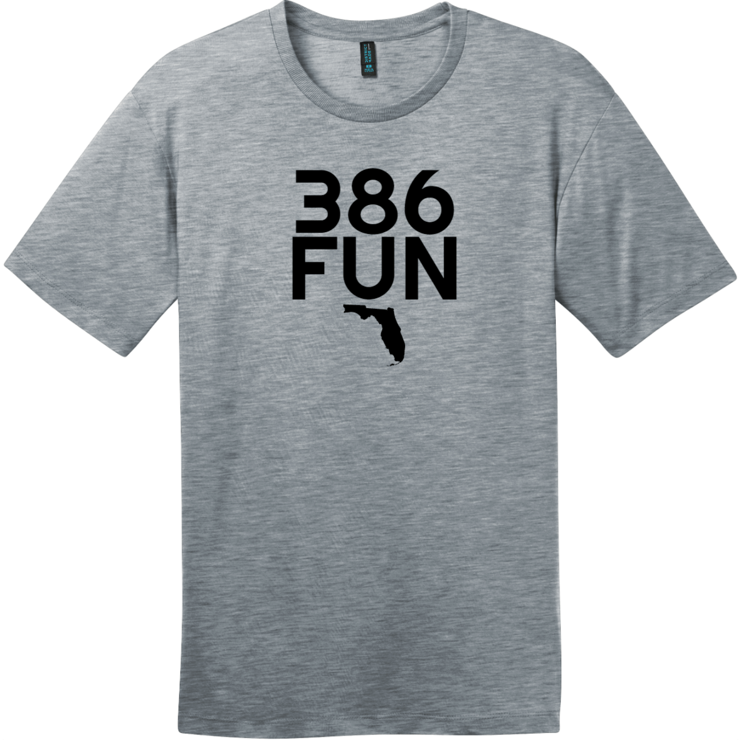 386 Fun Florida T-Shirt Heathered Steel District Perfect Weight Tee DT104