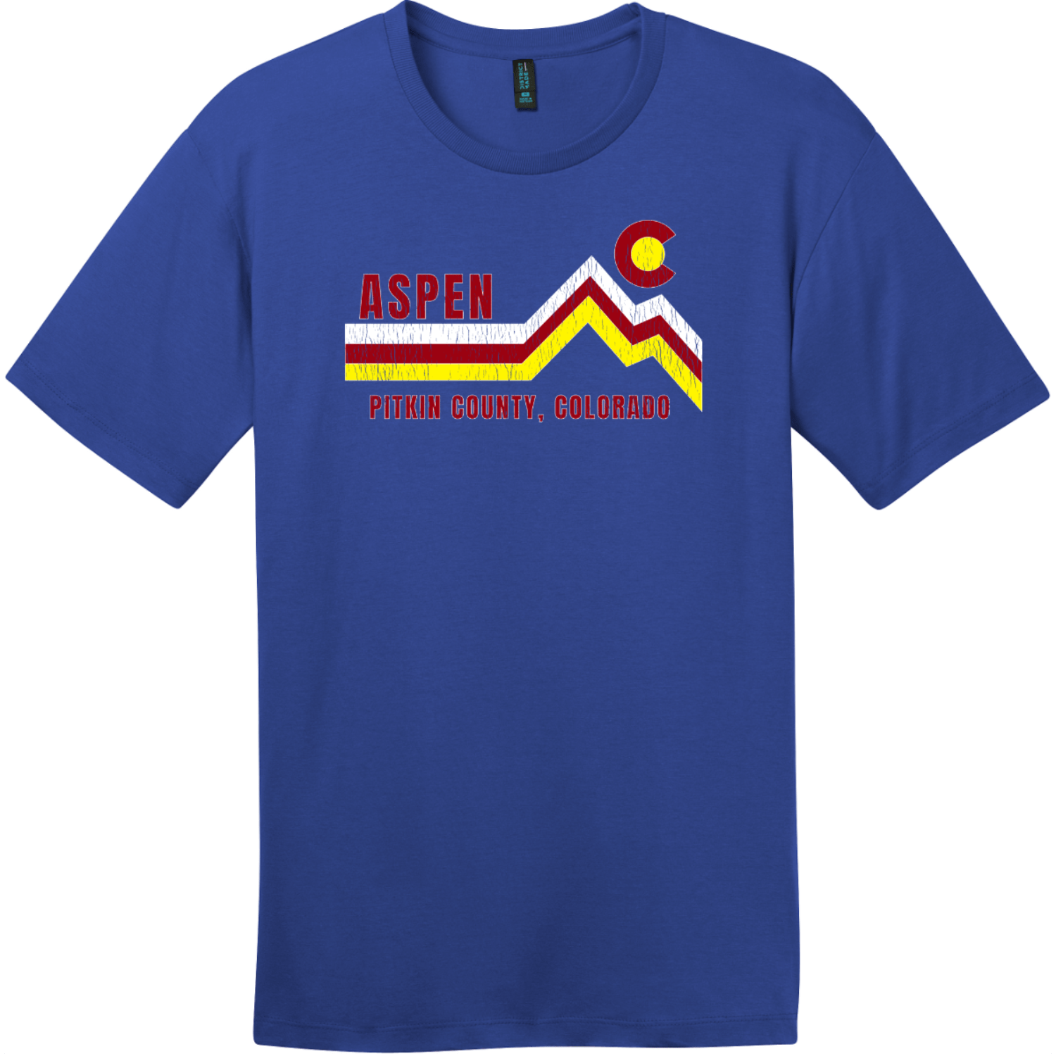 Aspen Pitkin County Colorado T-Shirt Deep Royal District Perfect Weight Tee DT104