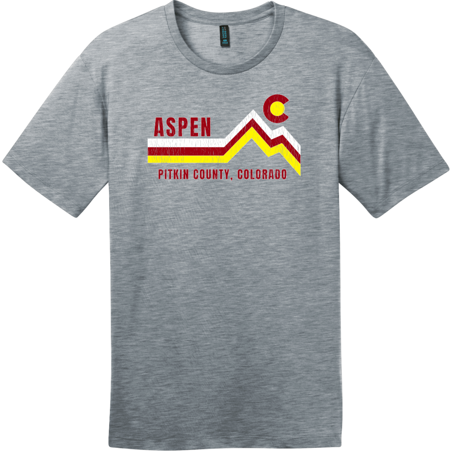Aspen Pitkin County Colorado T-Shirt Heathered Steel District Perfect Weight Tee DT104