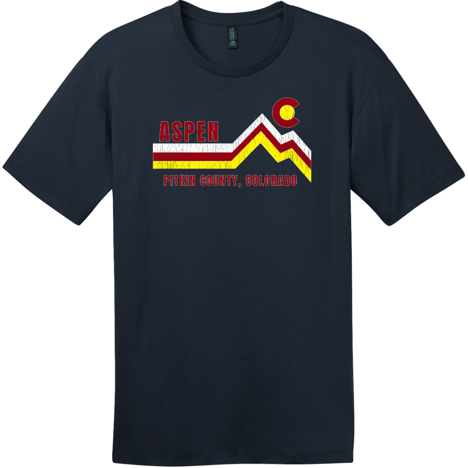Aspen Pitkin County Colorado T-Shirt New Navy District Perfect Weight Tee DT104