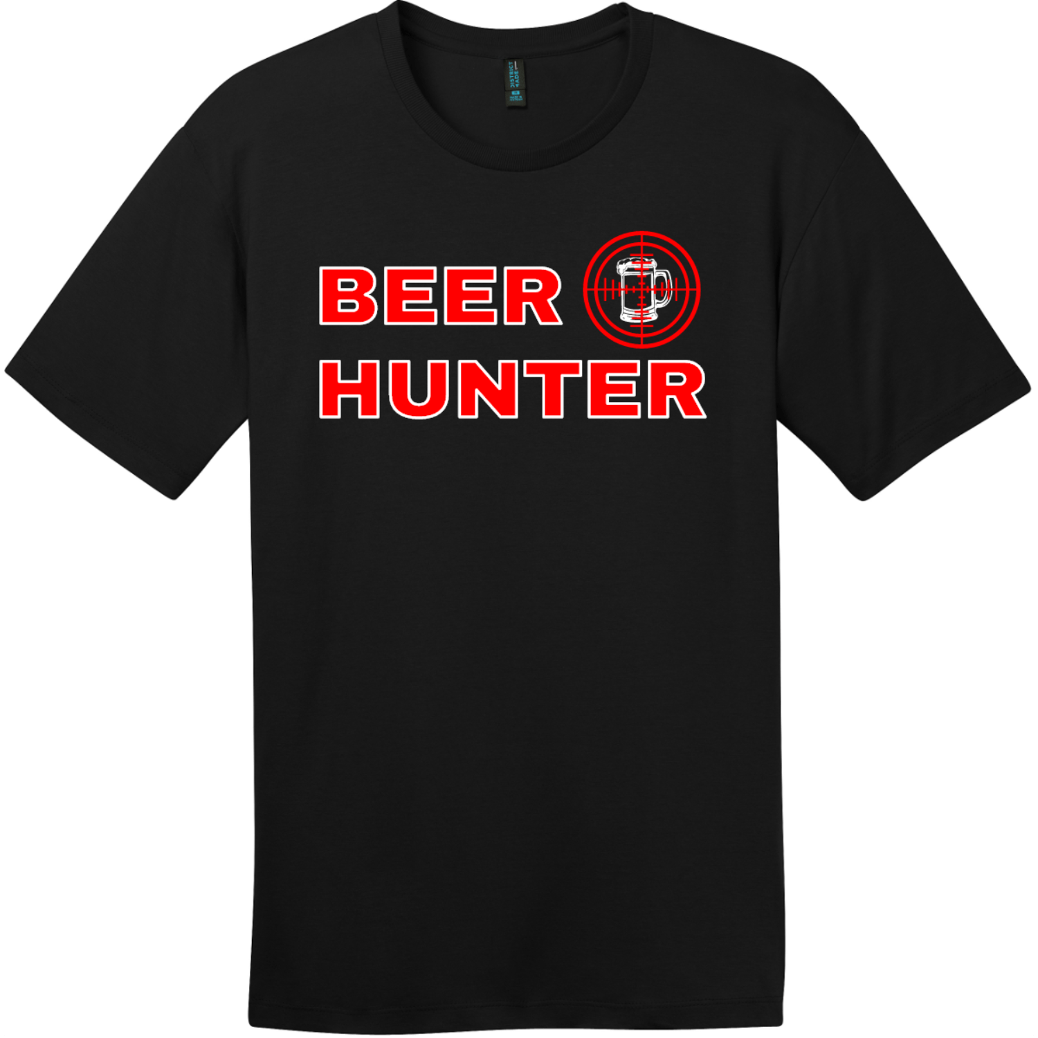 Beer Hunter Funny Beer T-Shirt Jet Black District Perfect Weight Tee DT104