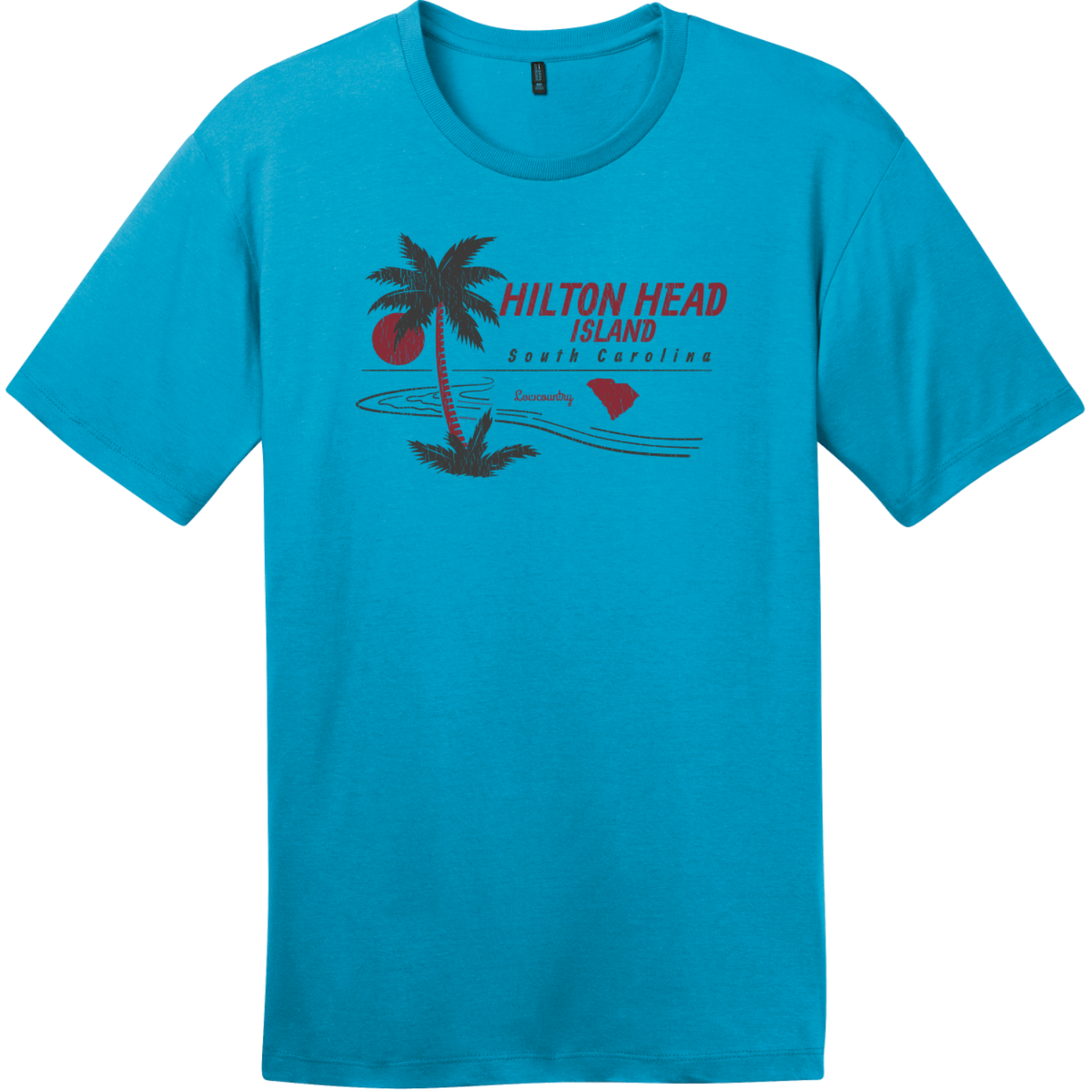 Hilton Head Island Lowcountry T-Shirt Bright Turquoise District Perfect Weight Tee DT104