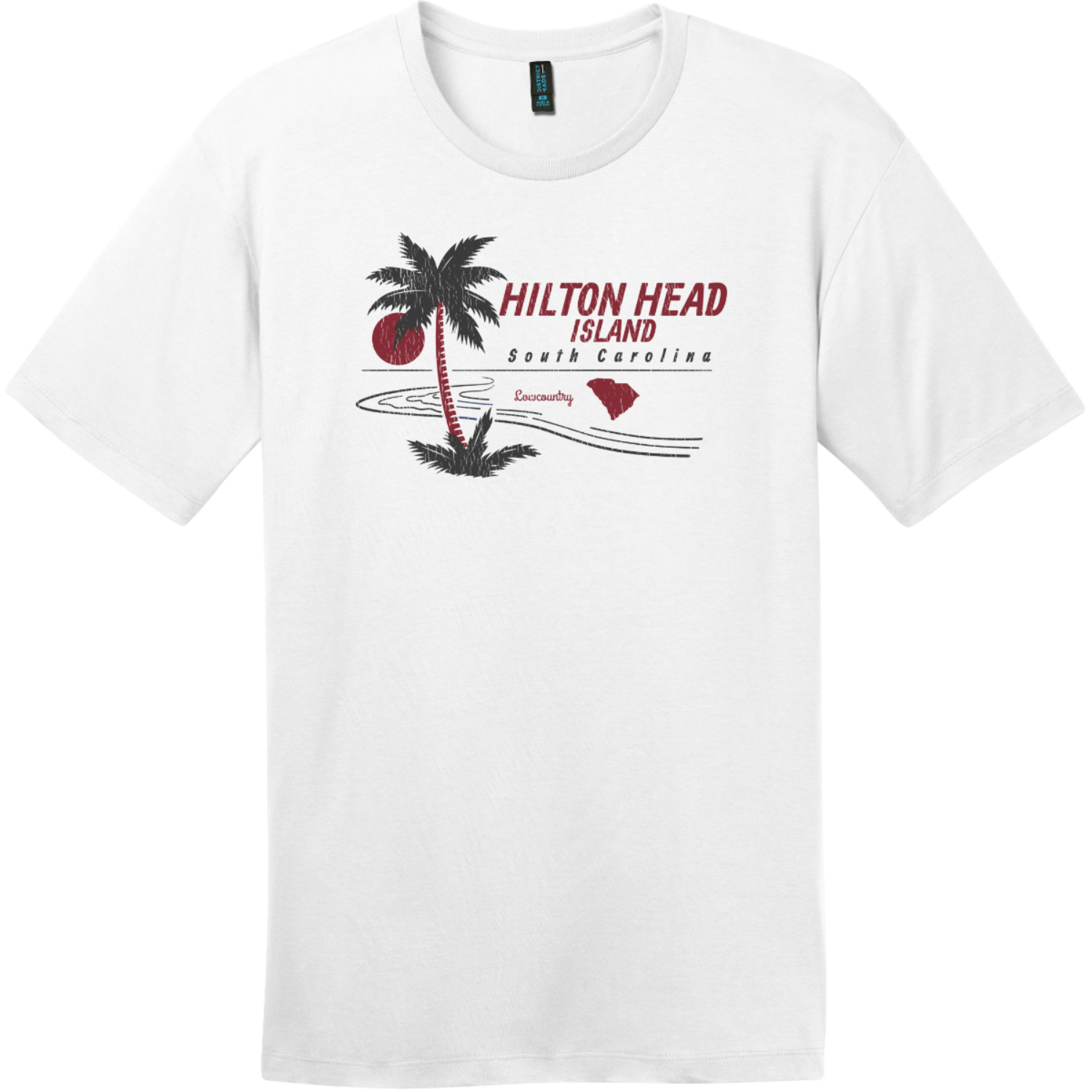 Hilton Head Island Lowcountry T-Shirt Bright White District Perfect Weight Tee DT104