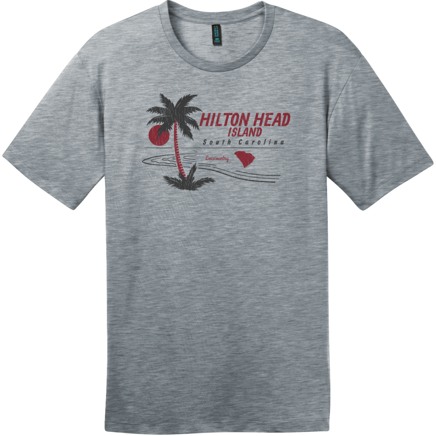 Hilton Head Island Lowcountry T-Shirt Heathered Steel District Perfect Weight Tee DT104