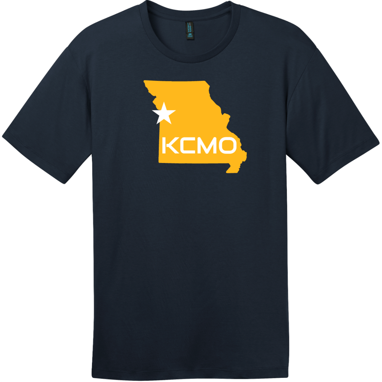 KCMO Missouri T-Shirt New Navy District Perfect Weight Tee DT104