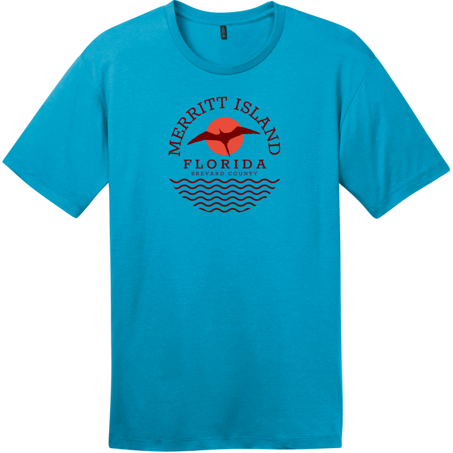 Merritt Island Florida T-Shirt Bright Turquoise District Perfect Weight Tee DT104