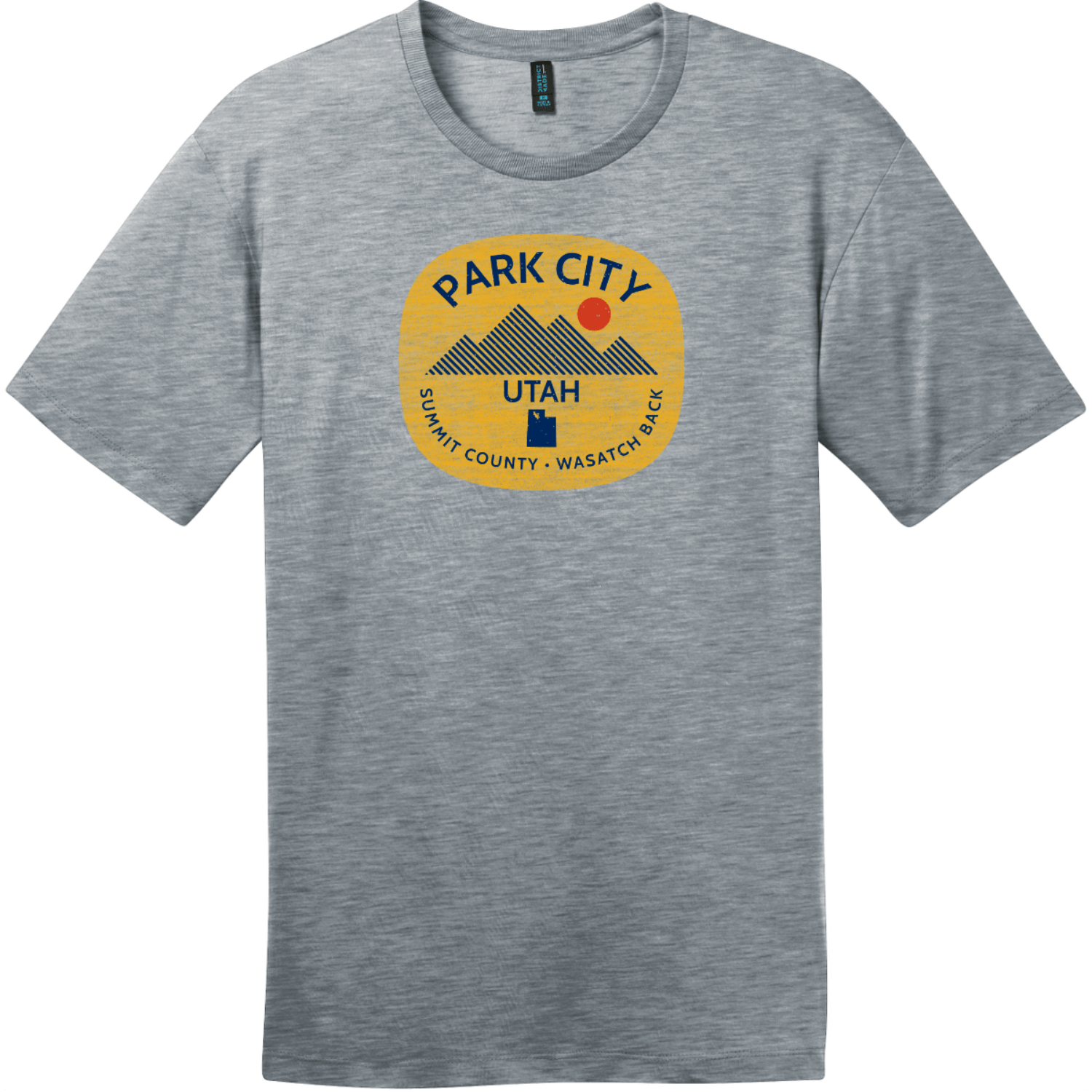 Park City Utah Wasatch Back T-Shirt Heathered Steel District Perfect Weight Tee DT104