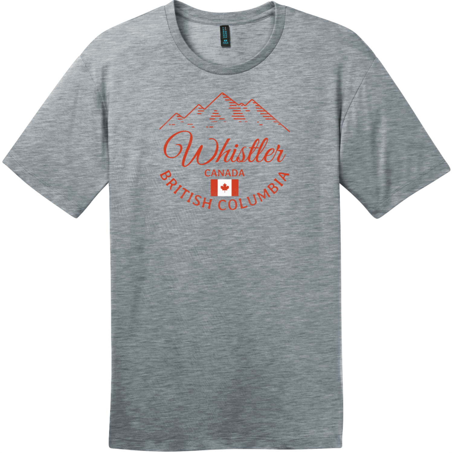 Whistler BC Canada Mountain T-Shirt Heathered Steel District Perfect Weight Tee DT104