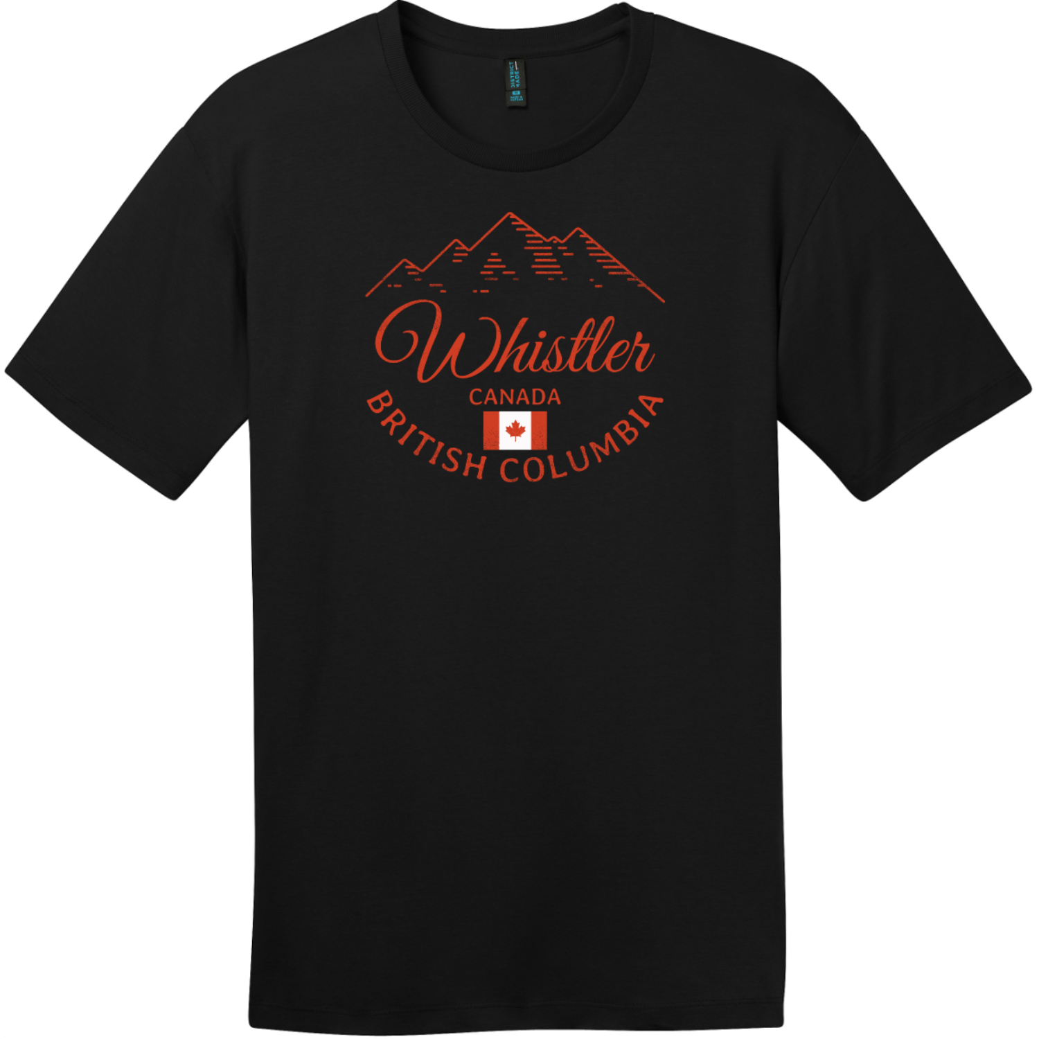 Whistler BC Canada Mountain T-Shirt Jet Black District Perfect Weight Tee DT104