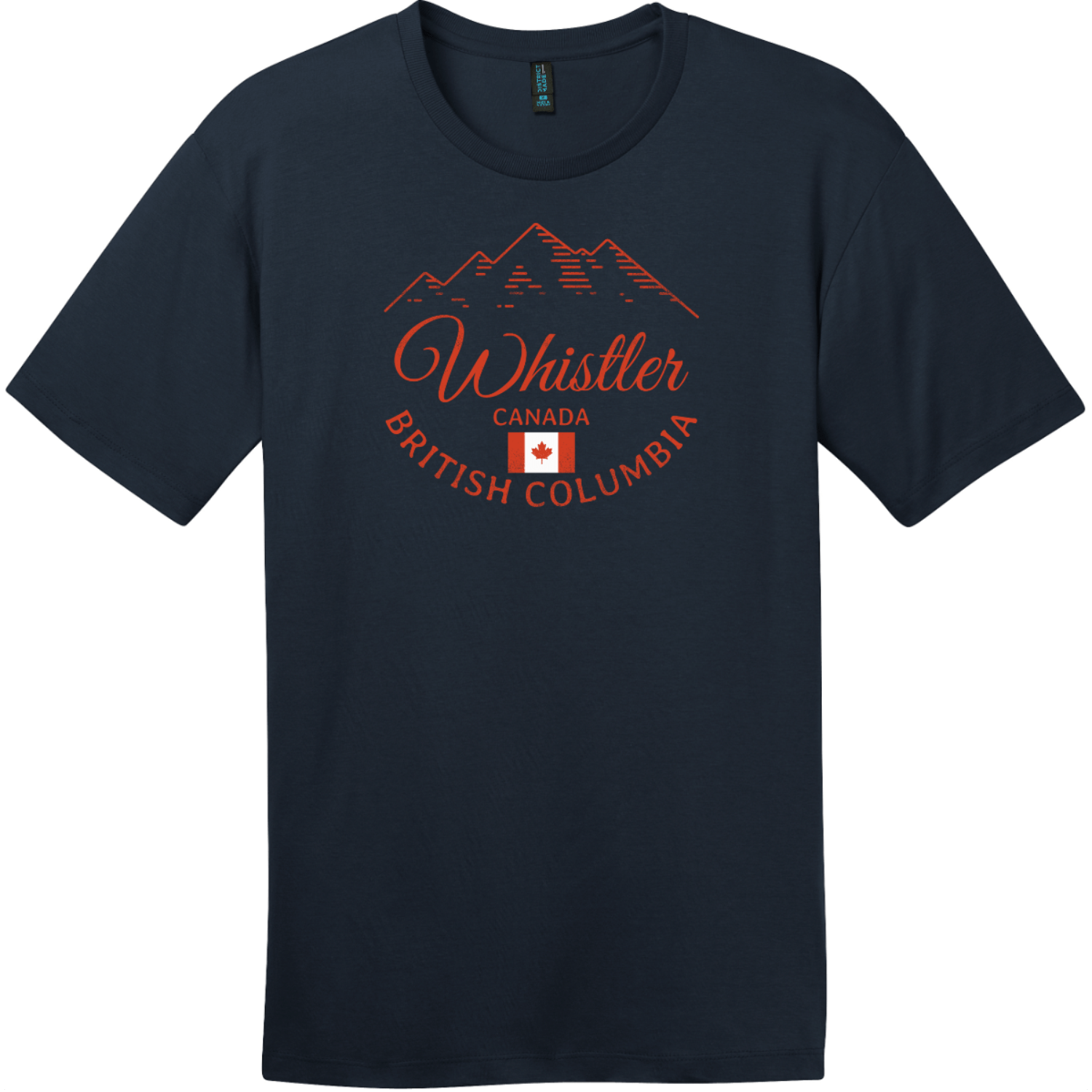 Whistler BC Canada Mountain T-Shirt New Navy District Perfect Weight Tee DT104