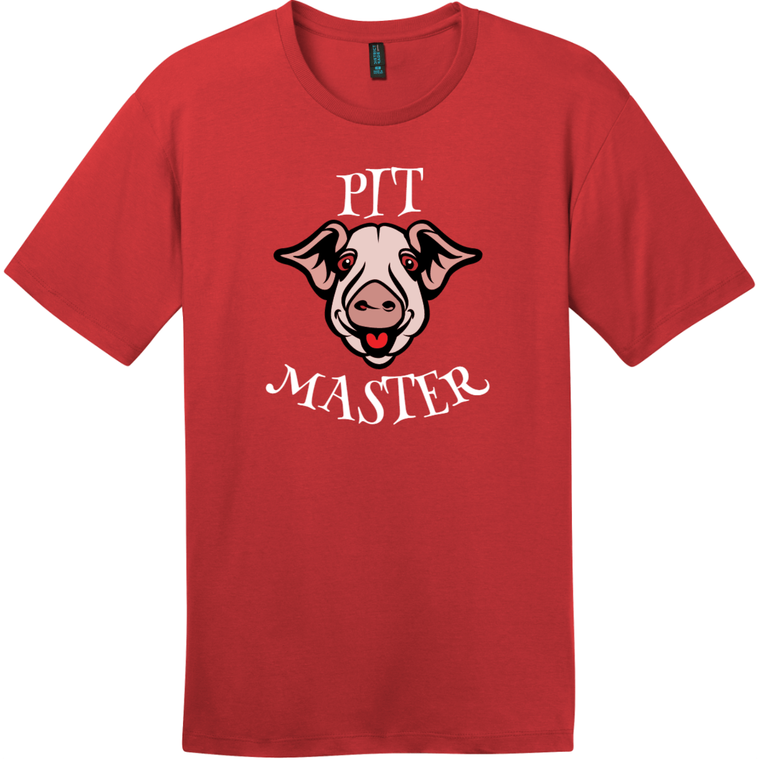 BBQ Pit Master Pig T-Shirt Classic Red District Perfect Weight Tee DT104