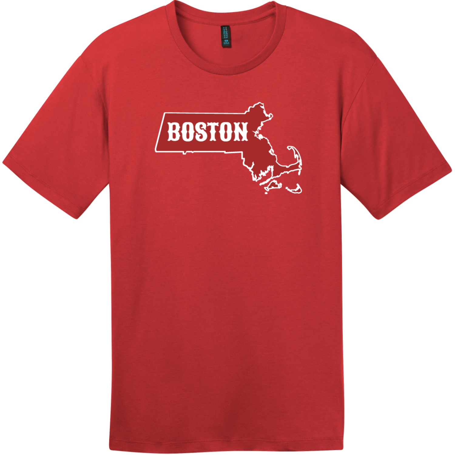 Boston Massachusetts State T-Shirt Classic Red District Perfect Weight Tee DT104