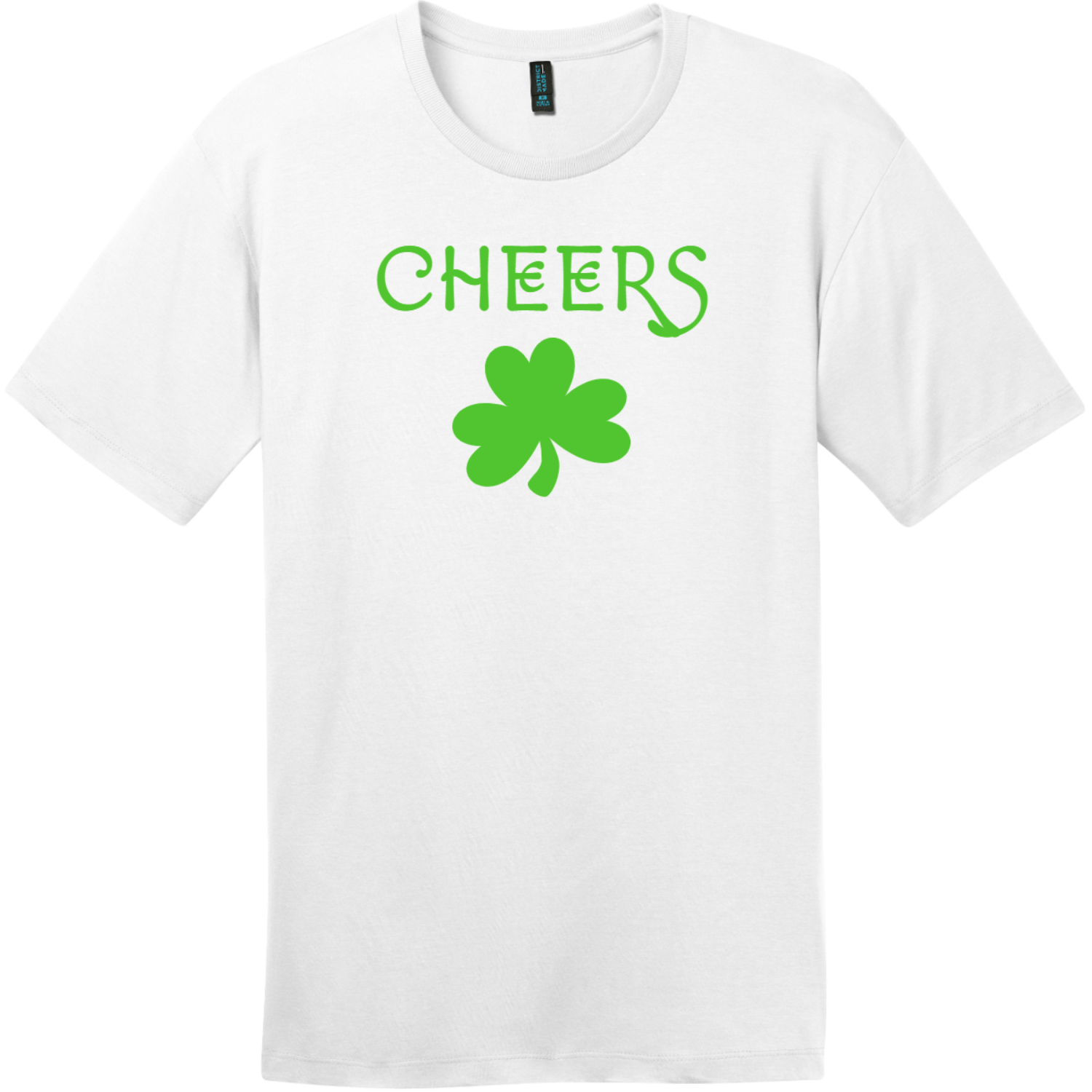 Cheers Shamrock St. Patricks Day T Shirt Bright White District Perfect Weight Tee DT104
